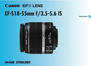 Canon EF-S 18-55mm f3.5-5.6 IS instruction manual (reprint)